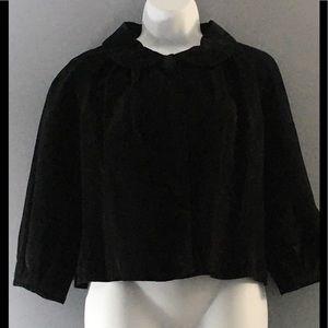 Black Genuine Suede Button Up Front Blazer